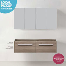 VIENNA 1500mm WHITE OAK Timber Wood Grain Wall Hung Vanity CARCASS/CABINET ONLY
