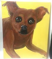 "Dog Painting Chihuahua or Terrier Acrylic on Canvas 16""X20"" Unknown Artist"