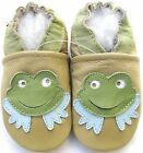 carozoo frog tan 18-24m soft sole leather baby shoes