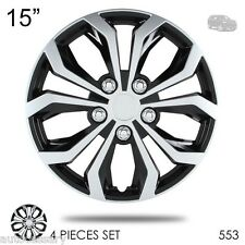 """New 15"""" Hubcaps Spyder Performance Black and Silver Wheel Covers For Jeep 553"""