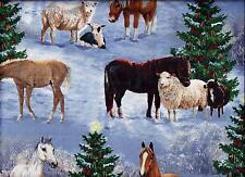 Christmas Horse Sheep Trees Snow curtain valance