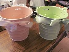 Miniature Tin SAND PAILS with Decorative Ribbins Pink & Lime Green