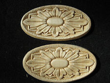 """Embossed Oval Design Wood Applique - ONLAY -4.25"""" wide and 2 1/8"""" hi - Pair of 2"""