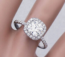 14K Solid White Gold Round Cut Diamond Engagement Ring Halo Prong Bridal 2.15ct