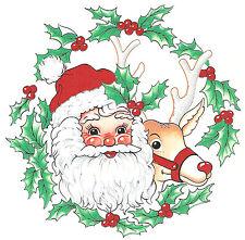 Ceramic Decals Christmas Santa Rudolph Reindeer Holly Wreath