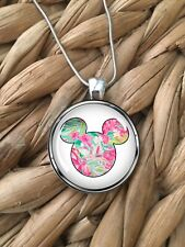 Lilly Pulitzer Inspired MIckey Mouse Pendant Silver Chain Necklace Gift NEW
