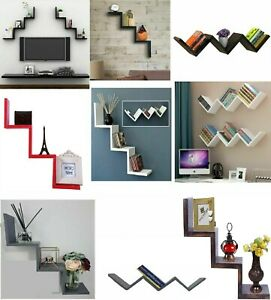 W Shape Wall Floating Shelve Shelf Storage Display Bookcase Wood Unit Decoration