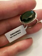 8.10 CT RUSSIAN EMERALD & DIAMOND 10KT SOLID WHITE GOLD RING SIZE 6.5