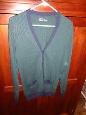 Bonobos Golf Green Navy Striped Golf Cardigan 100% Cotton Small Hardly Worn