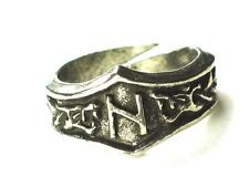 HAGALAZ Viking Dragon Head Rune Ring ,Transformation,  Letter 'H'. Adjustable