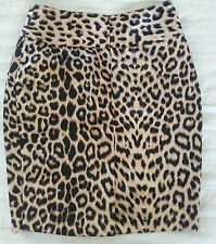 HUONG BOUTIQUE GOLD & BLACK ANIMAL PRINT SATEEN WRAP-FRONT SKIRT - SIZE 6 APPROX