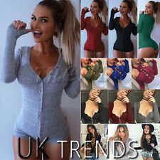 UK Womens Long Sleeves V Neck Ribbed Bodysuits Ladies Party Leotard Top Crop
