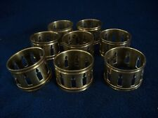 Vintage Brass Set Of 8 Napkin Rings Candle Cut Outs Decorative Edge