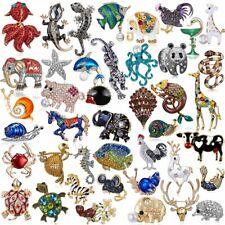 Chic Animal Frog Turtle Elephant Snail Rhinestone Crystal Brooch Pin Women Decor