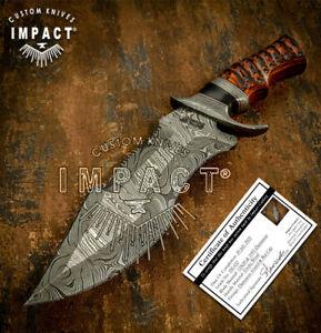IMPACT CUTLERY RARE CUSTOM DAMASCUS KNIFE EXOTIC WOOD HANDLE