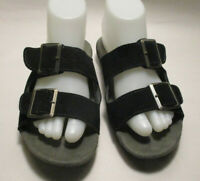 JSport by Jambu Carina Womens 7M Black/Gray Suede Leather Upper Comfort Sandals