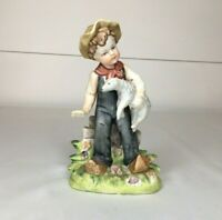 Vintage Norleans Dutch Boy With Sheep Porcelain Figurine Statue Farm Country