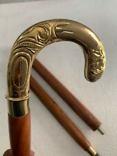 Vintage Harvey Canes Brass Head Handle Brown Walking Stick Handmade Style Gift