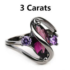 Marquise Cut Ring, 3 Carats Genuine Purple AAA Zircon Crystal Black Titanium SZ8