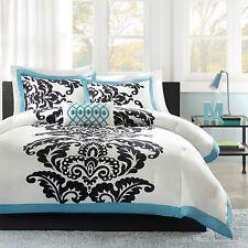 Teal Comforter Set Aqua Blue Teen TWIN Bed Black Floral Leaf Medallion Bedding
