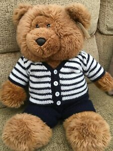"hand knitted teddy bear clothes 20"" - cardigan and trousers for 20"" bear"