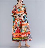 Women Vintage A-Line Dress Tunic Long Short Sleeve Floral Print Summer Sundress