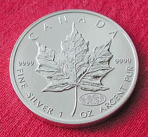 2000 silver maple leaf-1 oz .999 silver- fireworks privy mark