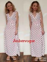 Zara White Polka Dot Flowing Long Dress  Belted White Red Size M , L