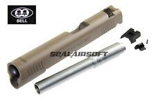 BELL Custom Slide For Marui / ARMY / BELL 1911 Toy GBB (Tan / Silver Barrel)