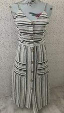 Talia Benson Linen Cotton Blend Striped Button Up Dress Size S Made In Italy
