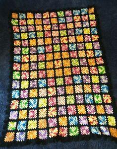 Vintage Crocheted Wool Afghan Blanket Throw Black Granny Square   48x64