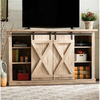 Rustic TV Stand Console 60 Entertainment Media Center Sliding Barn Doors