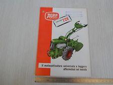 BROCHURE ORIGINALE DEPLIANT PRODUZIONE AGRIA TYPO 2400 MOTOCOLTIVATORE 1962