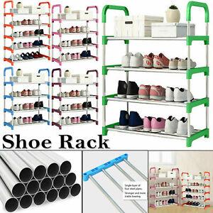 4 Tier Metal Shoe Rack Storage Organiser Stand Shelf Portable Cabinet Holder UK