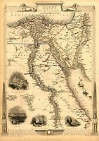MAP ANTIQUE RAPKIN 1851 EGYPT ILLUSTRATED OLD LARGE REPLICA POSTER PRINT PAM1187