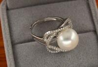 Perfect AAA++ 11-12 MM South Sea White Silver Pearl Ring + Box Adjustable Size 8