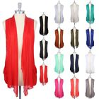 Sleeveless Solid Front Open Draped Cardigan with Side Pockets Casual Rayon S M L