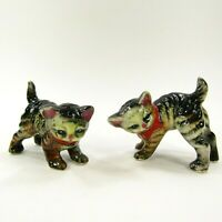 Vintage Salt Pepper Shaker Set Cat Kittens Tabby Red bows Enesco Japan   INV404
