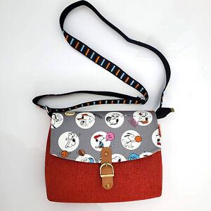 "Handmade Colorblock Gray Red Snoopy Peanuts Canvas Crossbody Bag 9'' x 7'' x 2"""
