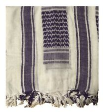 White/Purple Tactical Arab Shemagh Scarf 100% Cotton With Marks