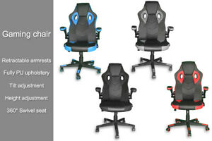 Lift Swivel Tilt Gaming Sporty Racing Office Desk Computer Chair PU Leather