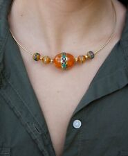 Collar Tibetano resina Ambar gargantilla incrustaciones coral y turquesa boho