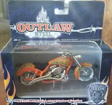 Toy Zone  Iron Legends Motorcycle 1/18 Scale Die Cast  Orange w/ Green Flames