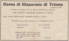 Z7052 Cassa di Risparmio di Trieste - Pubblicità d'epoca - 1939 old advertising
