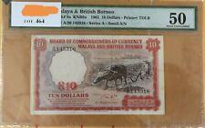 Malaya & B. Borneo $10 1961 - PMG50