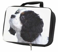 More details for tri-colour king charles spaniel dog black insulated school lunch box, ad-skc6lbb