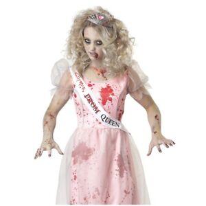 Adult Womens Prom Queen Zombie Halloween Costume