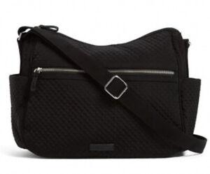Vera Bradley Classic Black Large On the Go Crossbody Bag Purse Microfiber