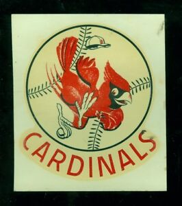 "1950's St. Louis Cardinals 4"" x 4 1/2"" color baseball decal"
