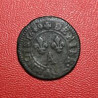 #1456 - RARE - Louis XIV Denier Tournois 1649 A Paris - FACTURE